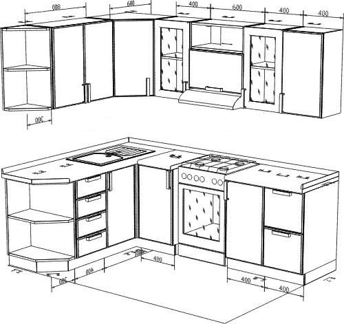 угловой дизайн кухни в